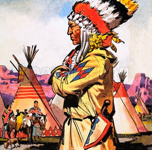 Blackfoot Indian. Panel from cover of Look and Learn no. 233 (2 July 1966). Original artwork loaned for scanning by the Illustration Art Gallery.