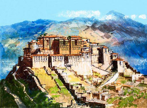 Unidentified site, possibly Tibet. Original artwork.
