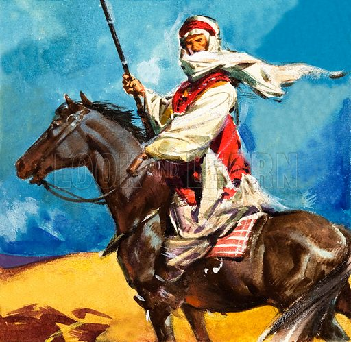 Bedouin tribesman. Panel from cover of Look and Learn no. 184 (24 July 1965).