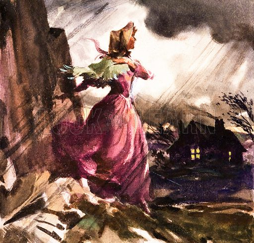 Scene from Charlotte Bronte's novel Jane Eyre. Panel from front cover of Look and Learn no. 179 (19 June 1965).