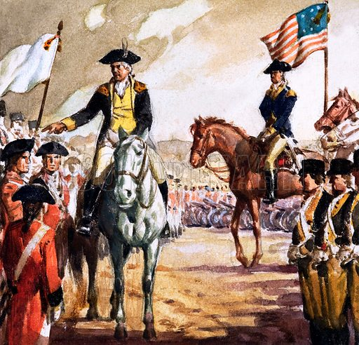 British general Charles Cornwallis surrendering to George Washington's Continental Army after the Siege of Yorktown, American War of Independence, 1781. Panel from cover of Look and Learn no. 182 (10 July 1965).