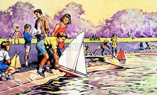 Sailing boats in the Round Pond, Kensington Gardens. Panel from cover of Look and Learn no. 236 (23 July 1966).