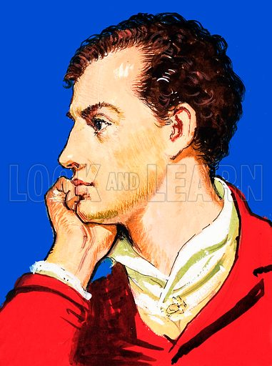 Lord Byron (1788–1824), English poet. Panel from cover quiz from Look and Learn.