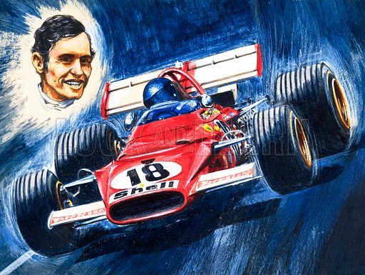 Denis Hulme, world drivers' champion from New Zealand. From Look and Learn no. 472 (30 January 1971). Original artwork loaned for scanning by the Illustration Art Gallery.