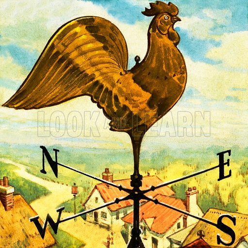Weather vane. Panel from cover of Look and Learn no. 164 (4 March 1965).