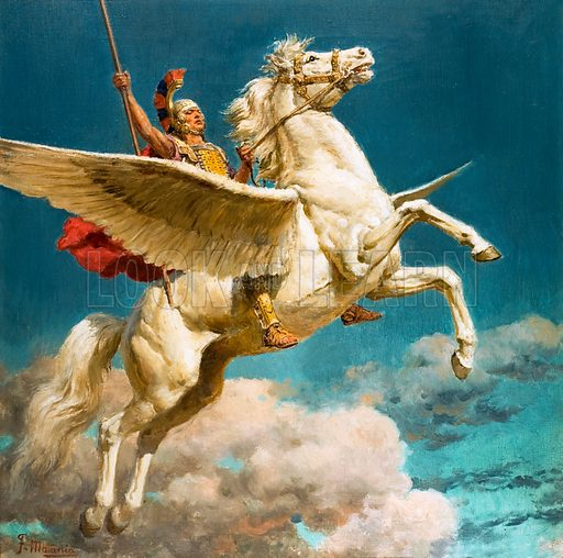 Bellerophon riding Pegasus, winged horse of Greek mythology. Front cover from Look and Learn no. 30 (11 August 1962).