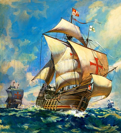 Unidentified sailing ships.