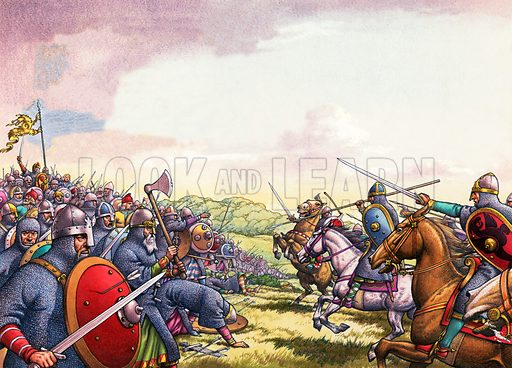 The Battle of Hastings. Original artwork for Look and Learn.