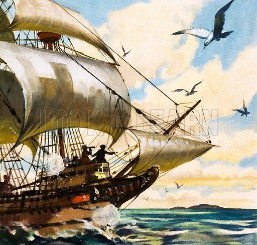 Unidentified sailing boat. Original artwork.