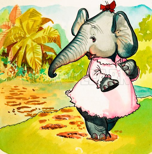 Elephant in a dress. Original artwork.