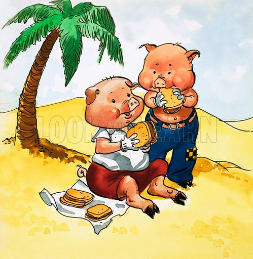 Pigs picnic on a desert island. Original artwork.