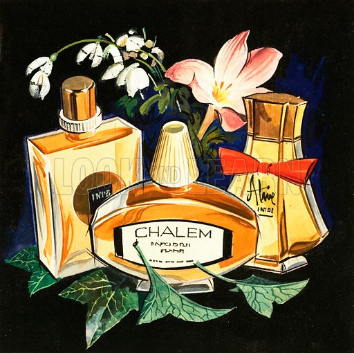 Bottles of perfume. Original artwork from Look and Learn no. 166 (20 March 1965).