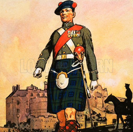 Soldier of the Black Watch. Original artwork from Look and Learn no. 233 (2 July 1966).