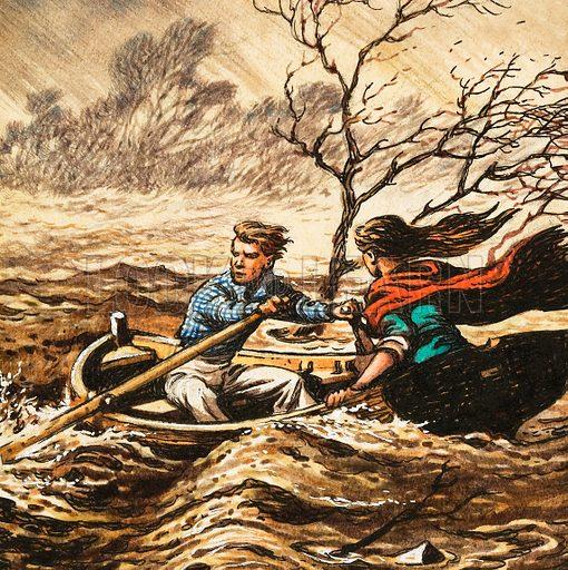 Unidentified scene of boy rowing girl in storm. Original artwork.
