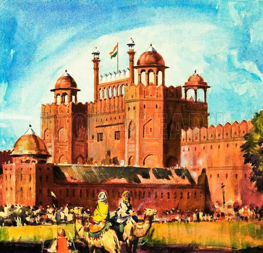 The Red Fort, Delhi. Original artwork from Look and Learn no. 175 (22 May 1965).