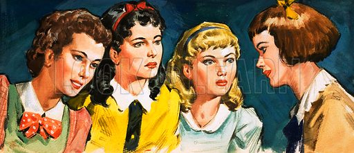 Unidentified group of girls. Original artwork.
