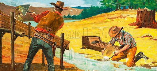 Panning for gold. Original artwork.