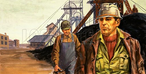 Miners and mine. Original artwork.