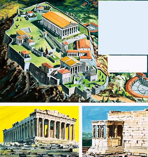 The city of Athens in Ancient Greece with two views of the Parthenon as it is seen today. Original artwork.