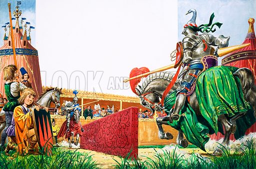 Once Upon a Time... The Tournament. Knights gathered to joust and take part in other entertainments. Original artwork from Treasure no. 356 (8 November 1969).