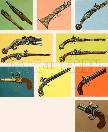 Pistols and guns. Original artwork.