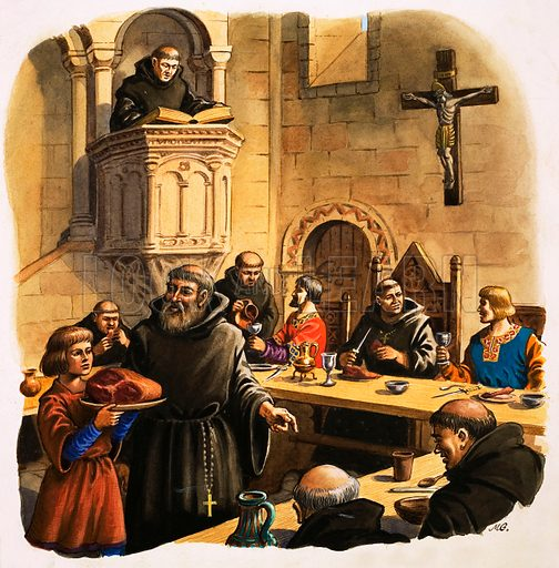 """The Wonderful Story of Britain: Life in the Monasteries. The novices or """"apprentice monks"""", were taught to serve meals in the Refectory or dining room. Original artwork from Treasure no. 42 (2 November 1963)."""