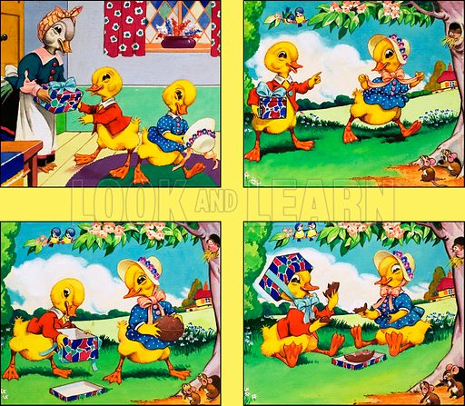 Dicky and Dolly. Original artwork from Playhour (dated 31 March).