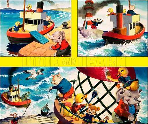 Dicky and Dolly. Original artwork from Playhour 142 (29 June 1957).