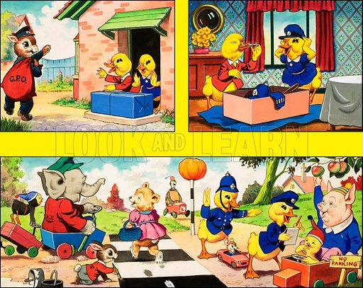 Dicky and Dolly. Original artwork from Playhour 208 (4 October 1958).