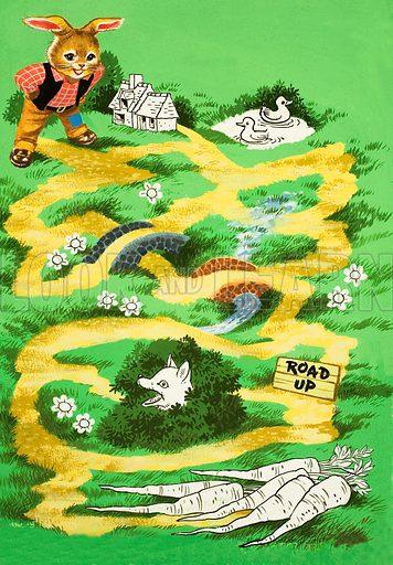 Brer Rabbit puzzle page. Original artwork.