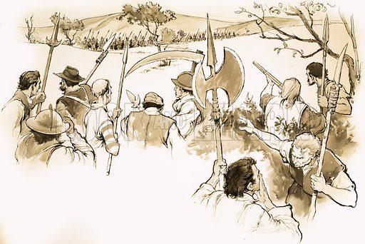 Unidentified scene of peasants facing an army. Original artwork.