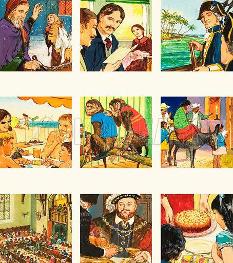 Christmas Crackers! The meaning of Christmas around the world. (1) Christ's Mass greetings; (2) Robert Louis Stephenson; (3) Captain Cook off Christmas Island; (4) Christmas in Australia; (5) Admirers give monkeys presents; (6) In Ireland a candle is lit to guide travellers; (7) The marriage of Henry III's daughter on Christmas Day in 1252; (8) Henry VIII preferred a small pig on for his Christmas meal; (9) Christmas cakes. Original artwork from Look and Learn no. 362 (21 December 1968).