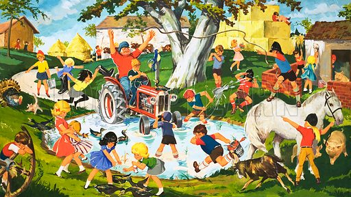 Pandemonium in the farm yard. A tractor has been driven into the pond and many children rush to help. Original artwork.