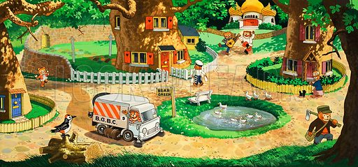 Activity around Bear Green duck pond. Original artwork from Teddy Bear (14 feb 1981).