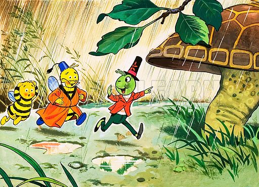 Gregory Grasshopper. From Jack & Jill (date unknown). Original artwork loaned for scanning by the Illustration Art Gallery.