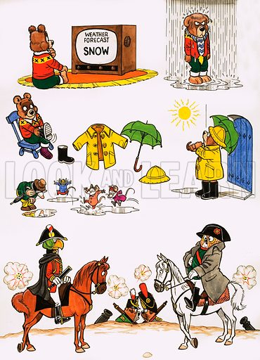Unidentified cartoons including bear dressing for bad weather and parrot dressed as Nelson facing an owl dressed as Napoleon. Original artwork.