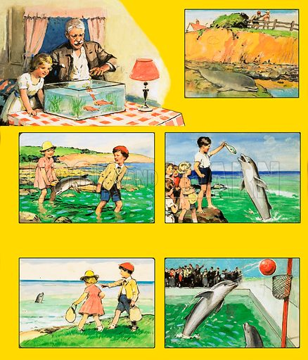 Out and About with Uncle Ben. Playing with dolphins. Original artwork from Jack and Jill (dated 18 November [1961?]).