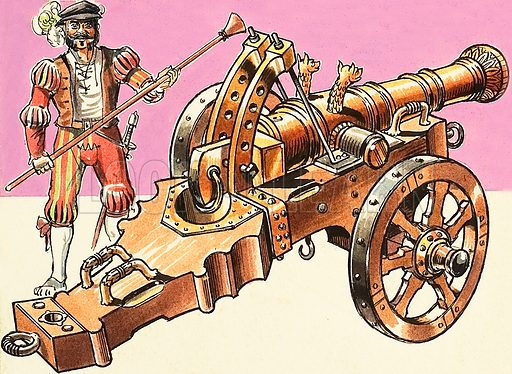Card Index of Knowledge: Cannons. Original artwork from Look and Learn no. 442 (4 July 1970).
