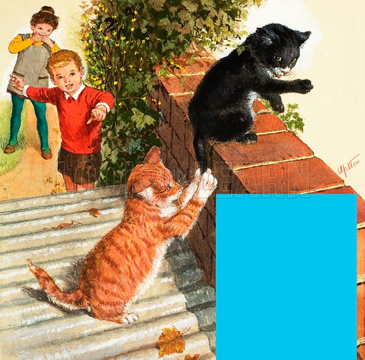 """K"" for Kitten shows a boy and girl watching a ginger and a black and white kitten playing on a corregated tin roof and red brick wall; the text of the poem ""The Kitten at Play"" by William Wordsworth. Original artwork from Treasure no. 63 (22 March 1964)."