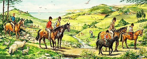 Horse riding in the country by the sea. Original artwork from Teddy  Bear.