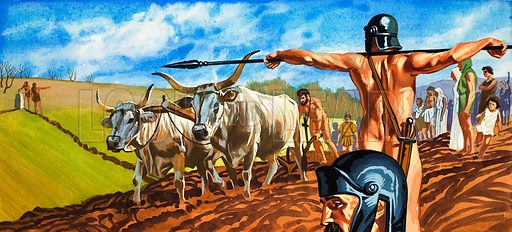 Naked soldier guards men and women toiling in fields. Original artwork.