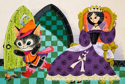 Cat chasing mouse before the Queen. Original artwork (from Playhour Annual 1976?).
