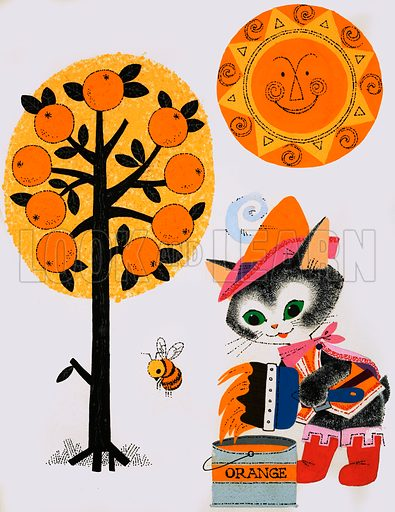 Cat painting the world orange. Original artwork from Playhour Annual 1976.