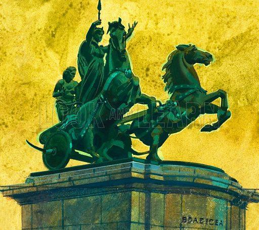 Statue of Queen Boadicea. Original artwork.