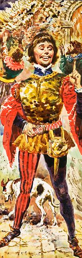 """The King Who Would Not Die. """"King Edward's Coronation day was a day of disasters … Despite all the troubles of the day, Gaveston strutted around seemingly without a care in the world."""" Original artwork from Look and Learn Book 1979."""