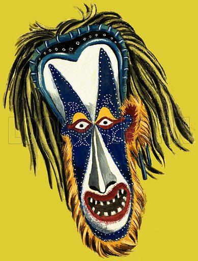 Japanese Theatrical Mask. Original artwork.