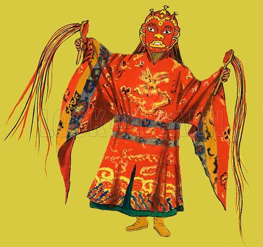 Japanese Theatrical Costume. Original artwork.