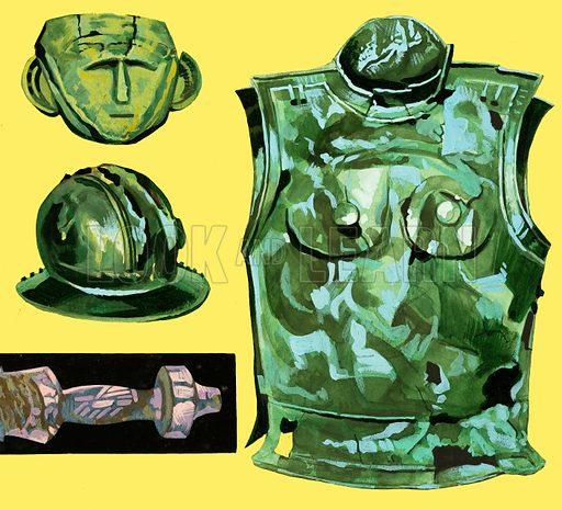 Unidentified armour and mask. Original artwork.