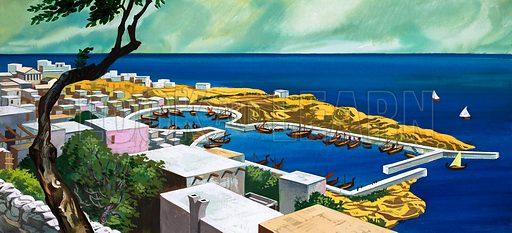 Unidentified coastal scene. Original artwork.