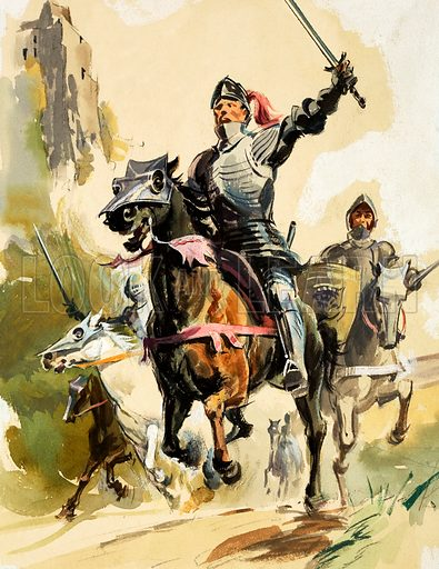 Unidentified warrior in armour leading cavalry charge. Original artwork.